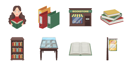 Library and bookstore icons in set collection for design. Books and furnishings vector symbol stock web illustration.