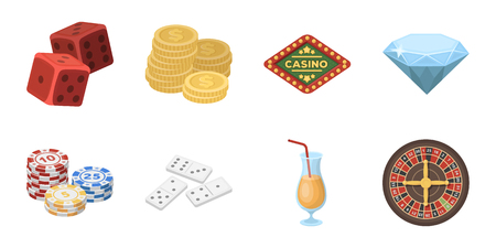 Casino and gambling icons in a set collection for design. Casinos and equipment vector symbol stock web illustration.