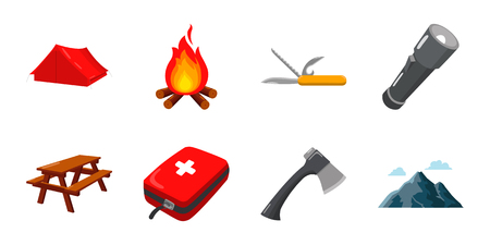 flashlights: Camping icons in a set collection for design. Camping and equipment vector symbol stock web illustration. Illustration