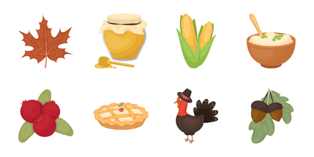 Thanksgiving Day icons in set collection for design. Tradition vector symbol stock web illustration. Illustration