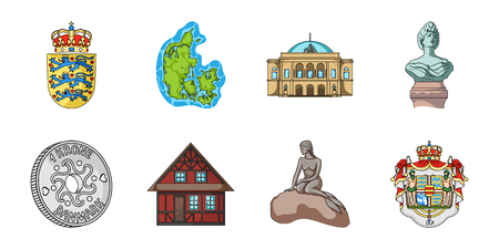Traveling in Denmark icons in set collection for design. Denmark and attractions vector symbol stock web illustration.