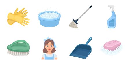 Cleaning and maid icons in set collection for design. Equipment for cleaning vector symbol stock web illustration. Ilustração
