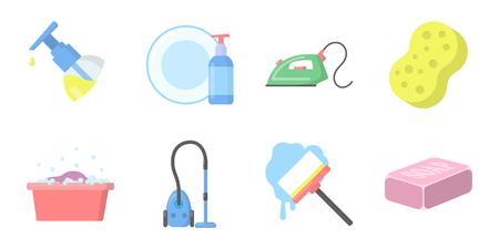 Iconos de limpieza y limpieza en conjunto de colección para el diseño. Equipo para la limpieza de la ilustración de vector stock de símbolo de vector.