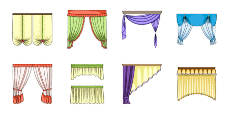 Different kinds of curtains icons in set collection for design. Curtains and lambrequins vector symbol stock web illustration.