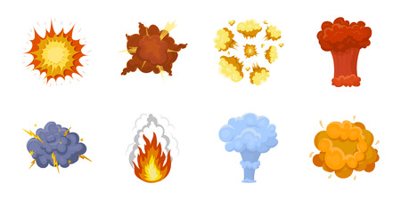 Different explosions icons in set collection for design. Flash and flame vector symbol stock web illustration.
