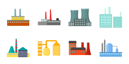 Factory and facilities icons in set collection for design. Factory and equipment vector symbol stock web illustration. 向量圖像