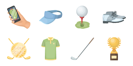 Golf and attributes icons in set collection for design. Golf Club and equipment vector symbol stock  illustration. Stok Fotoğraf - 89177281