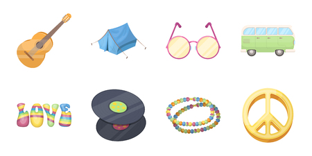 Happy and attribute icons in set collection for design. Happy and accessories vector symbol stock web illustration. Illustration