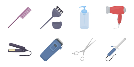 Hairdresser and tools icons in set collection for design.Profession hairdresser vector symbol stock web illustration.