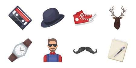 Style Hipster. icons in set collection for design. Hipster Attributes and accessories vector symbol stock web illustration.