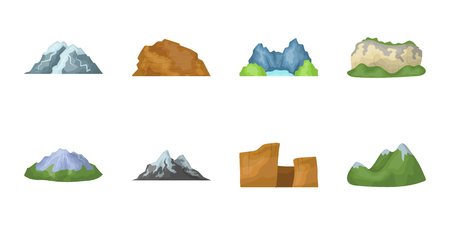 Different mountains icons in a set collection for design. Mountains and landscape vector symbol stock illustration.