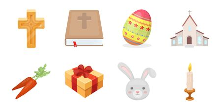 Easter is a Christian holiday icon in a set collection for design. Easter attributes vector symbol stock illustration. Illustration