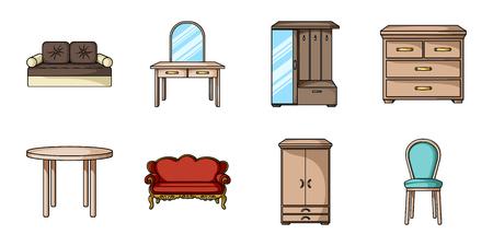 Meubilair en binnenlandse pictogrammen in een vastgestelde inzameling voor ontwerp. Huisraad meubilair vector symbool stock illustratie. Stock Illustratie