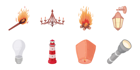 Light source icons in set collection for design. Light and equipment vector symbol stock  illustration. Vettoriali