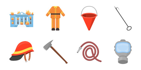 Fire Department icons in set collection for design. Firefighters and equipment vector symbol stock web illustration. Illustration