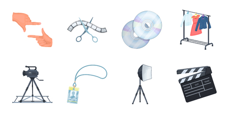 Making a movie icons in set collection for design. Attributes and Equipment vector symbol stock web illustration.