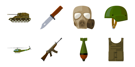 Army and armament icons in set collection for design. Weapons and equipment vector symbol stock web illustration.