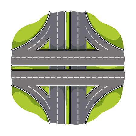 intersection: Autobahn single icon in cartoon style.