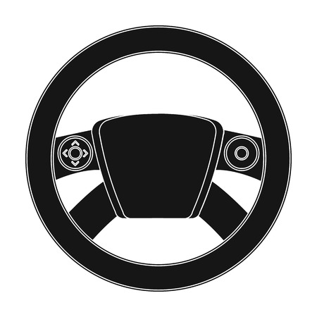 Steering wheel single icon in black style for design. Car maintenance station vector symbolm stock illustration web.