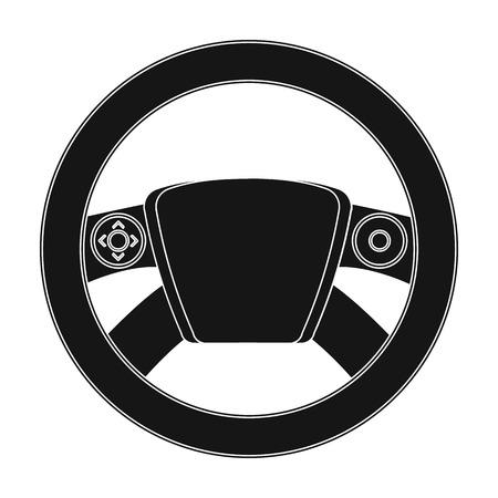 Einzelne Ikone des Lenkrads in der schwarzen Art für Design. Illustrationsnetz des Autowartungsstationsvektorsymbolm auf Lager.
