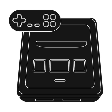 Game console single icon in black style for design.Car maintenance station vector symbol stock web illustration.