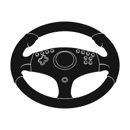 Game steering wheel single icon in black style for design. Car maintenance station vector symbol, stock web illustration.