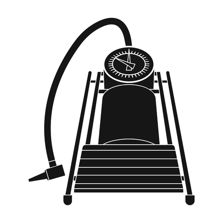 Foot pump for car single icon in black style for design. Car maintenance station vector symbol, stock illustration web.
