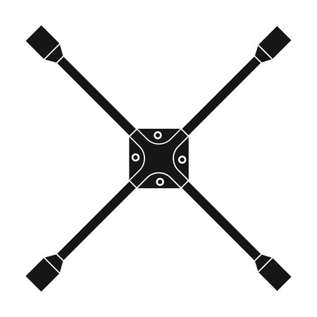 Wrench for wheel single icon in black style for design. Car maintenance station vector symbol, stock illustration web.