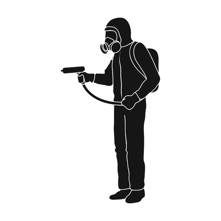 Staff in overalls single icon in black style for design. Pest control service vector symbol, stock illustration web.