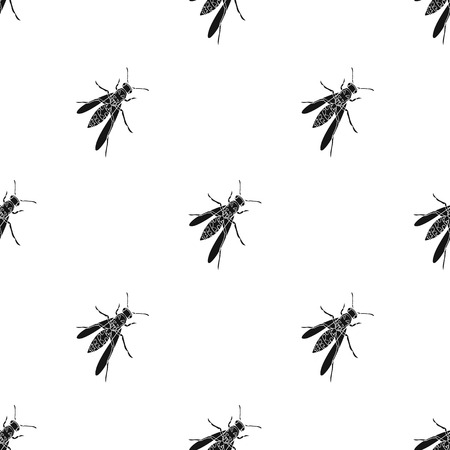 Wasp, hymenopteran insect.Wasp, stinging insect single icon in black style vector symbol stock isometric illustration web.
