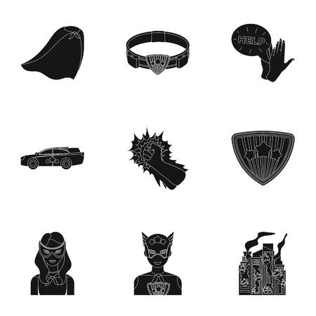 Superhero, man, clothes, and other web icon in black style. Weapon, explosion, fire, icons in set collection.