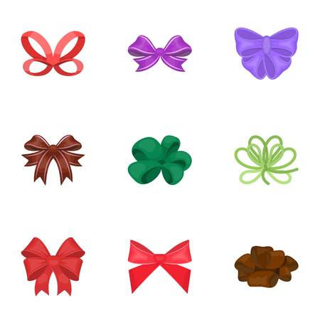 Giftbows, node, ornamentals, and other web icon in cartoon style.Bow, ribbon, decoration, icons in set collection.