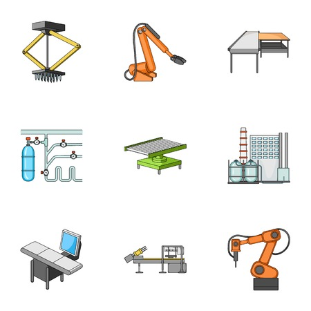 Factory equipment and machines and other web icon in cartoon style.New production technologies icons in set collection.