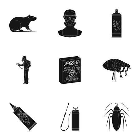 Pest, poison, personnel and various equipment black icons in set collection for design. Pest control service vector symbol stock web illustration.