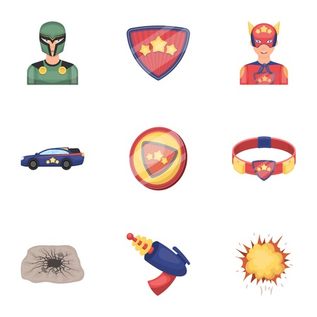 Superhero, man, clothes, and other web icon in cartoon style. Weapon, explosion, fire, icons in set collection. Ilustração