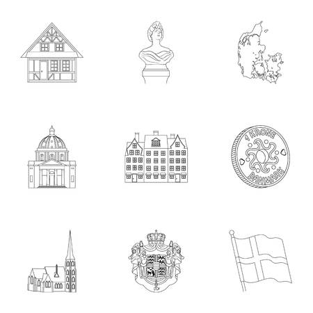 Country, Denmark, sea and other web icon in outline style.Woman, suit, national, icons in set collection.