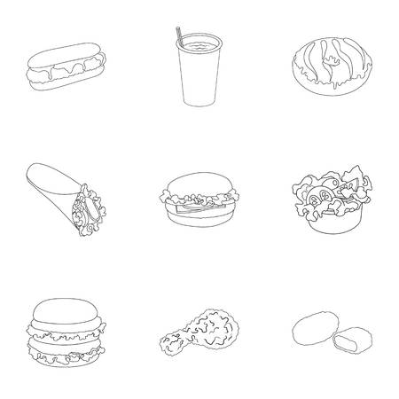 Chicken, food, snack, and other web icon in outline style.Donut, cream, chocolate icons in set collection.