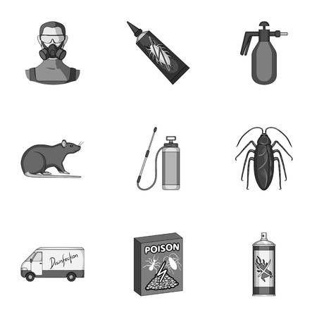 Pest, poison, personnel and various equipment monochrome icons in set collection for design. Pest control service vector symbol stock web illustration.