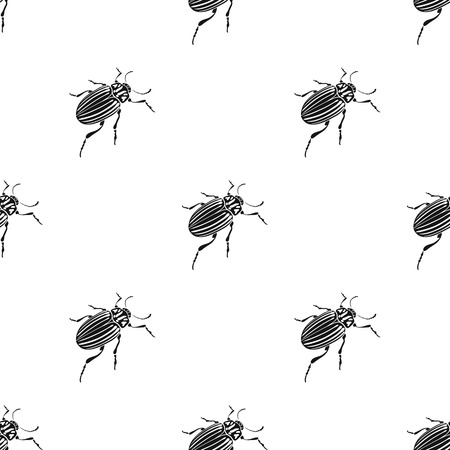 Colorado bug, a coleopterous insect.Colorado, a harmful insect single icon in black style vector symbol stock isometric illustration web. Illustration