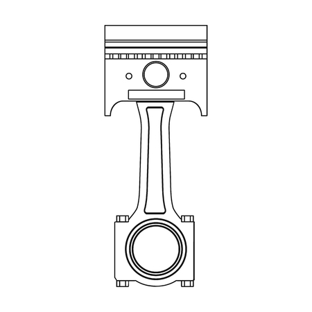 Connecting rod with piston single icon in outline style for design.Car maintenance station vector symbol stock illustration web.