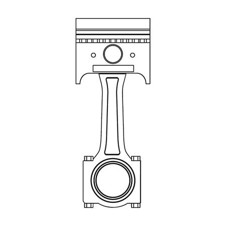 Varilla de conexión con el solo icono del pistón en el estilo del esquema para el diseño. Web del ejemplo de la acción del símbolo del vector de la estación de mantenimiento del coche. Ilustración de vector
