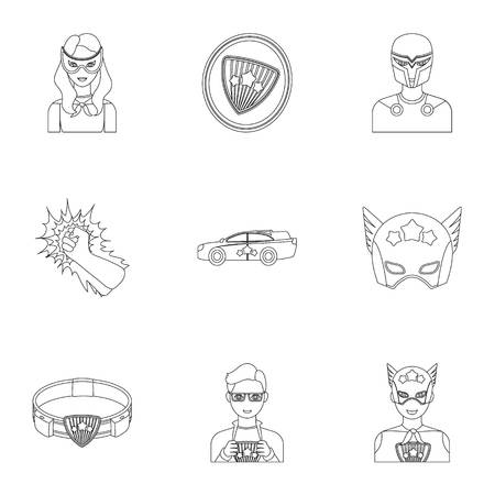 Superhero, man, clothes, and other web icon in outline style. Weapon, explosion, fire, icons in set collection.