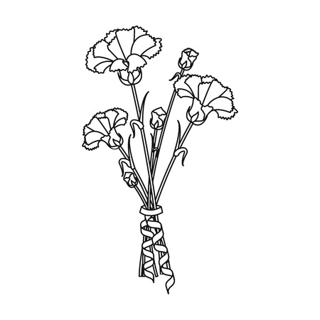 A bouquet of fresh flowers single icon in outline style for design. Bouquet vector symbol stock illustration web.  イラスト・ベクター素材