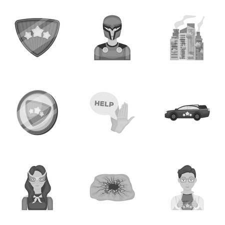 Superhero, man, clothes, and other web icon in monochrome style. Weapon, explosion, fire, icons in set collection.