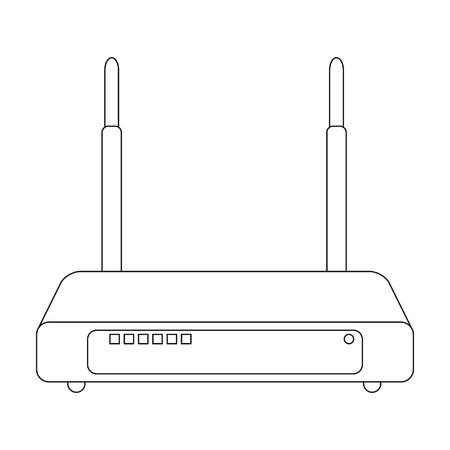 Roteador, ícone único no estilo do esboço. Símbolo do vetor do roteador ilustração do estoque web. Ilustración de vector