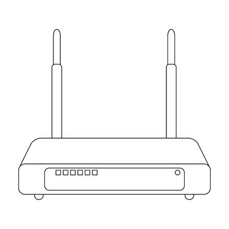 Router, één pictogram in kaderstijl. Router vector symbool stock illustratie web.