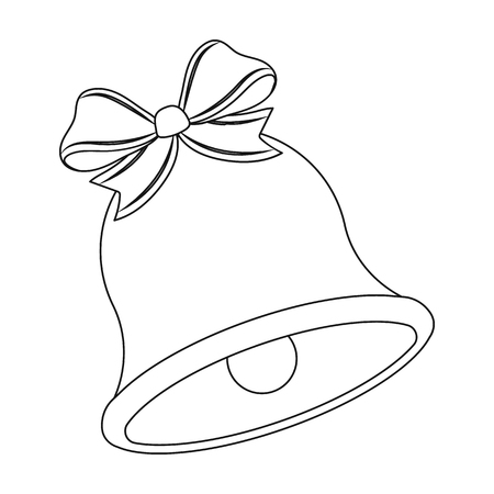 Christmas Bell single icon in outline style for design. Christmas vector symbol stock illustration web. Vettoriali