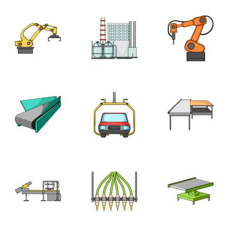 Automotive industry and other web icon in cartoon style.Automated production systems icons in set collection. Illustration