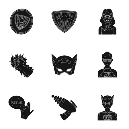 Superhero, explosion, fire, and other web icon in black style.Pistol, weapons, innovations, icons in set collection.
