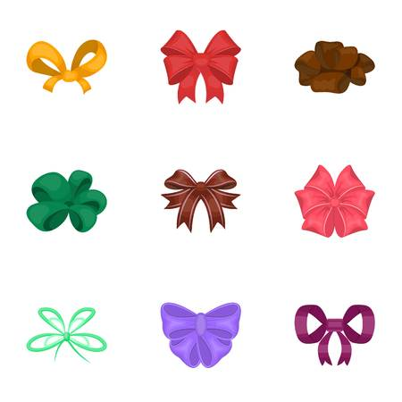 Bow, ribbon, decoration, and other web icon in cartoon style.Giftbows, node, ornamentals, icons in set collection.